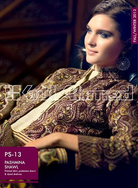 Gul Ahmed Pashmina Shawl Fall winter collection 2013