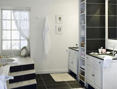 Cuarto de ba o en gris negro y blanco tres colores - Bano de color negro ...