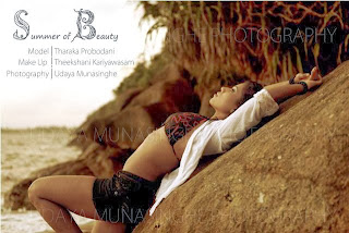 Sri Lankan model Tharaka Probodani beach hot
