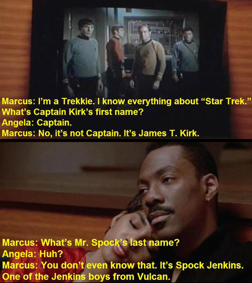 Eddie Murphy's love of Star Trek is one of several reasons why we still dig Murphy despite stupid shit like his non-comedic soul albums and Pluto Nash.