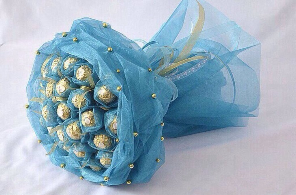Сделать букет из конфет пошаговое фото для девушки