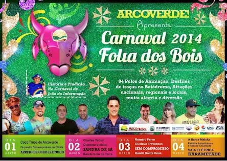 Arcoverde, programação do Carnaval Folia dos Bois