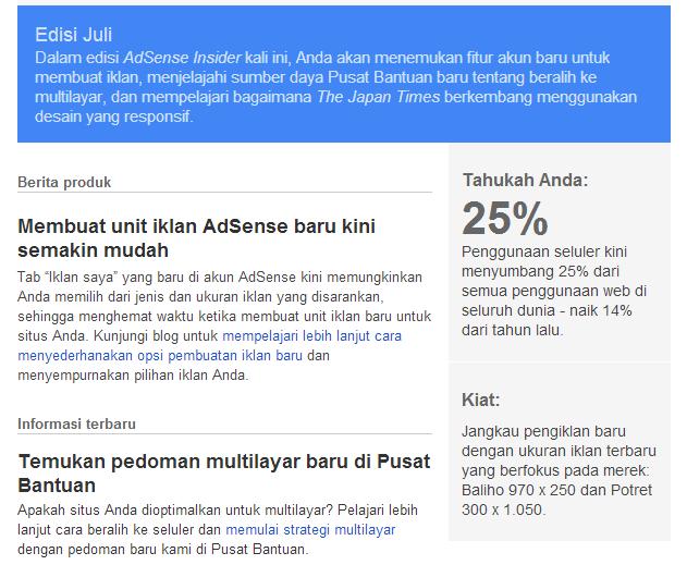 Mail dari team Google Adsense