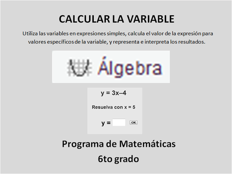 Álgebra: CALCULAR LA VARIABLE