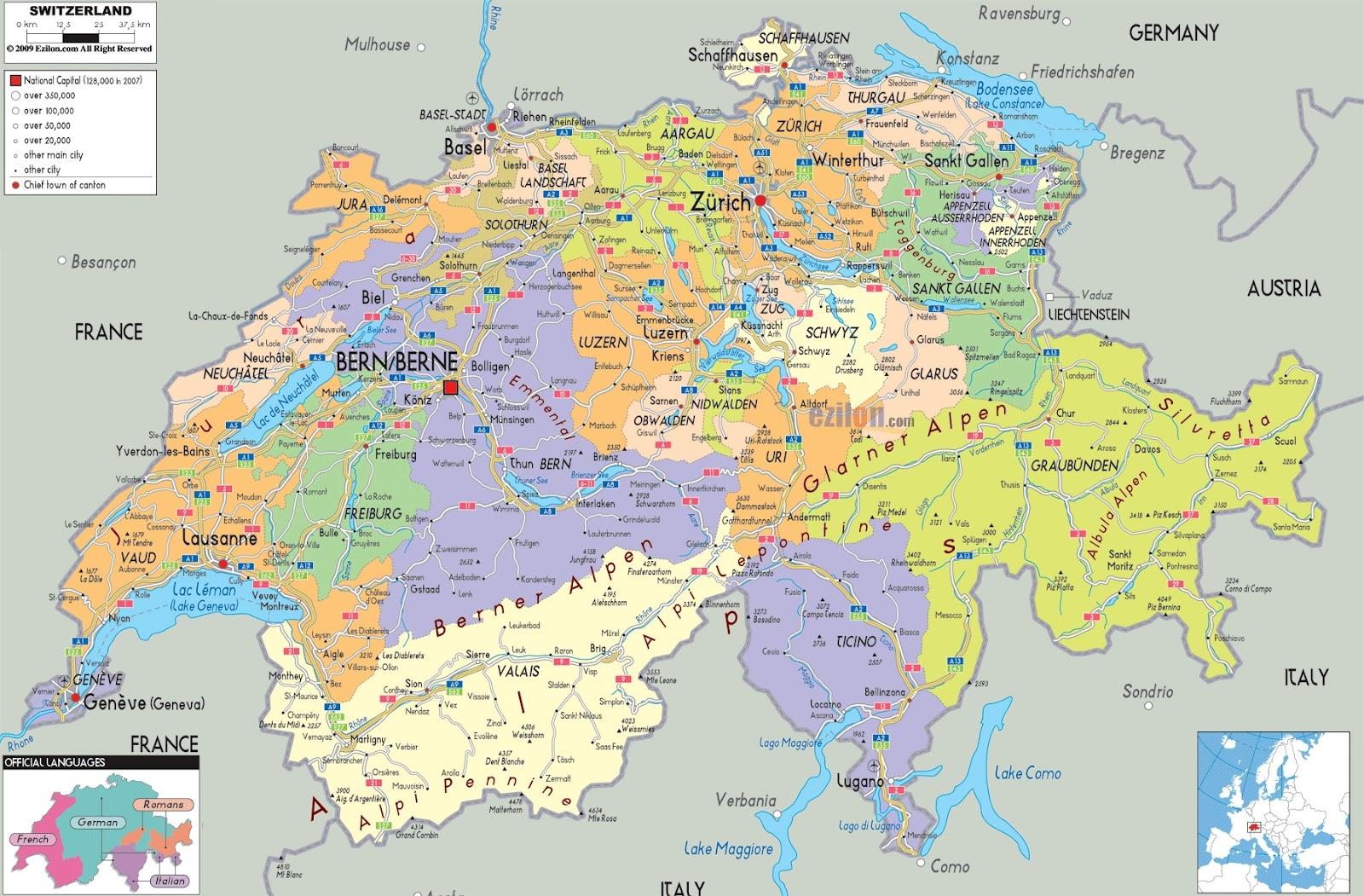 Travel to Switzerland Best Holiday Destination – Switzerland Tourist Attractions Map