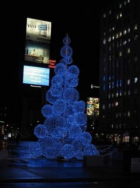[Christmas tree made of light balls]