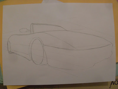 draw ferrari step by step sketch