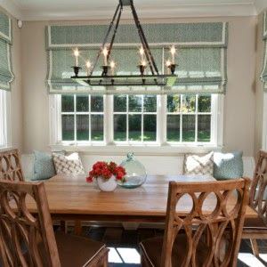 Roman blinds in kitchen and dining room