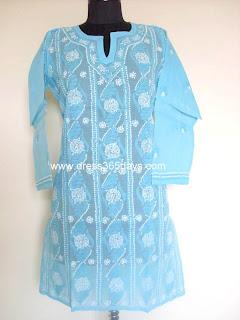 Lucknowi Chikan Blue Kurta Online