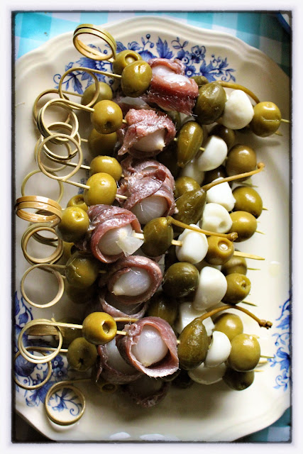 olives and anchovies on a stick, msmarmitelover's supper club