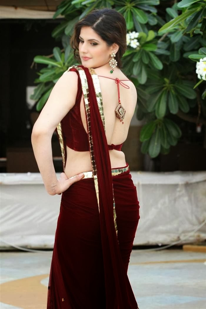 Zarine Khan Latest Red Saree Pics
