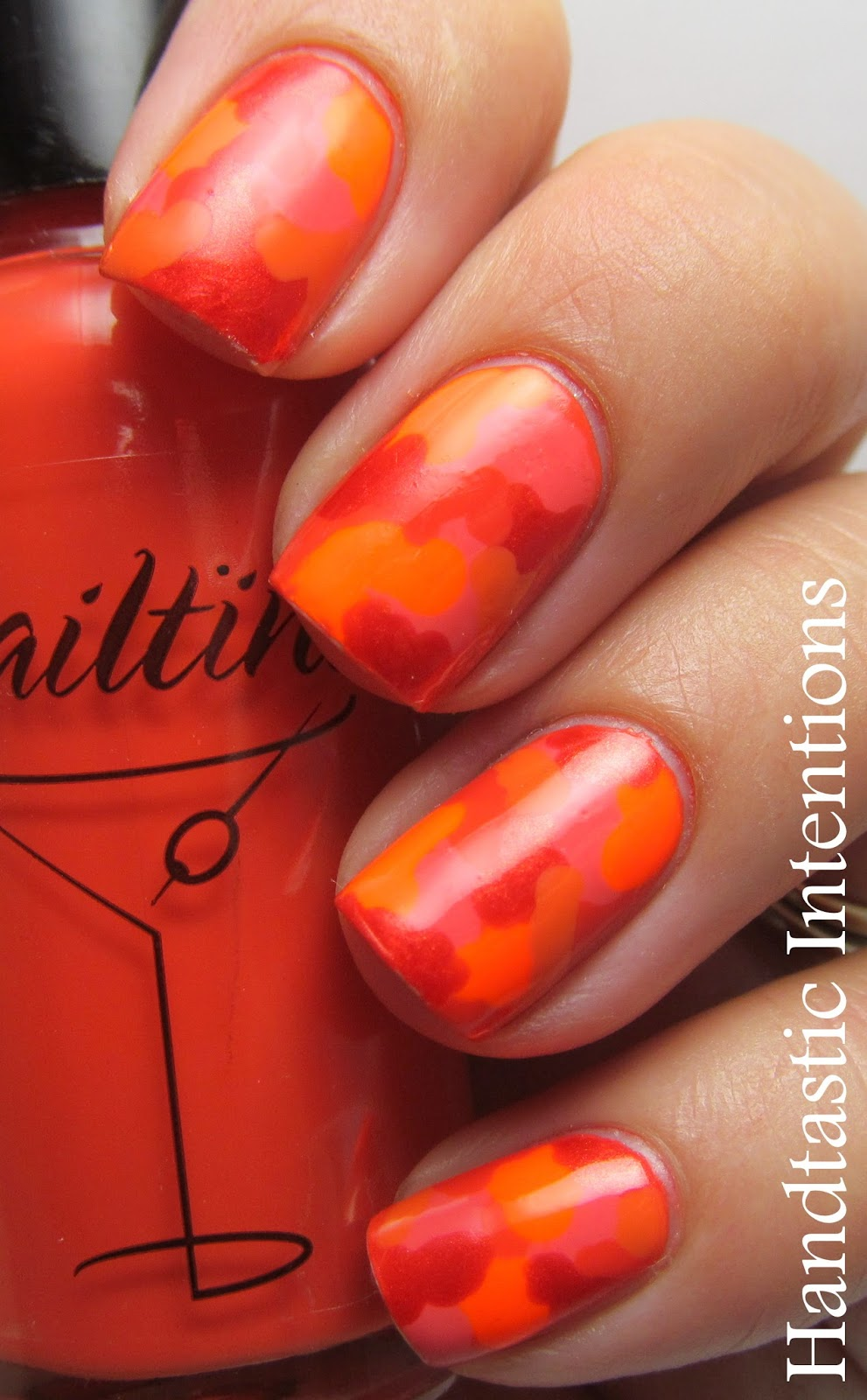 Handtastic Intentions Nail Art Orange Camo