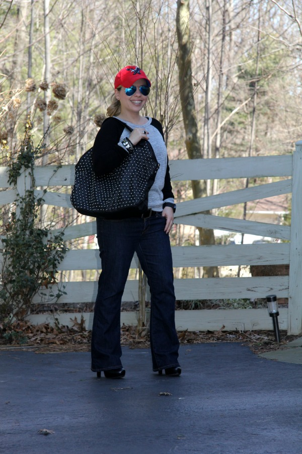 Lil Maggie Flare Jeans from Lucky Brand, Gray Sweater from Forever 21, American Eagle Red Cap, Aviator Sunglasses with Blue Lenses from Ray Ban, Bag from TJ Maxx, Accessories from TJMaxx, Boy Meets Girl Silver Bangle, Lizabeth Pump from Me Too, Black Watch from Listed
