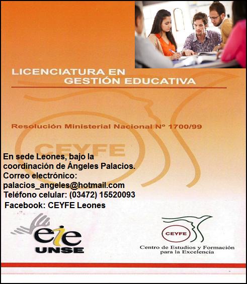 ESPACIO PUBLICITARIO: LICENCIATURA EN GESTIÓN EDUCATIVA