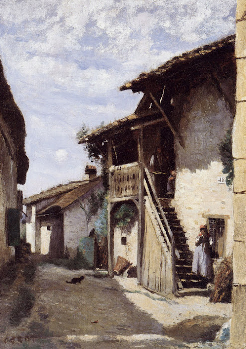 Une rue de village, Dardagny, 1852-1863 de Corot Jean Baptiste Camille