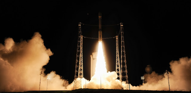Liftoff of Vega VV06 carrying LISA Pathfinder on 3 December 2015 from Europe's Spaceport, French Guiana. Credit: ESA–Stephane Corvaja, 2015