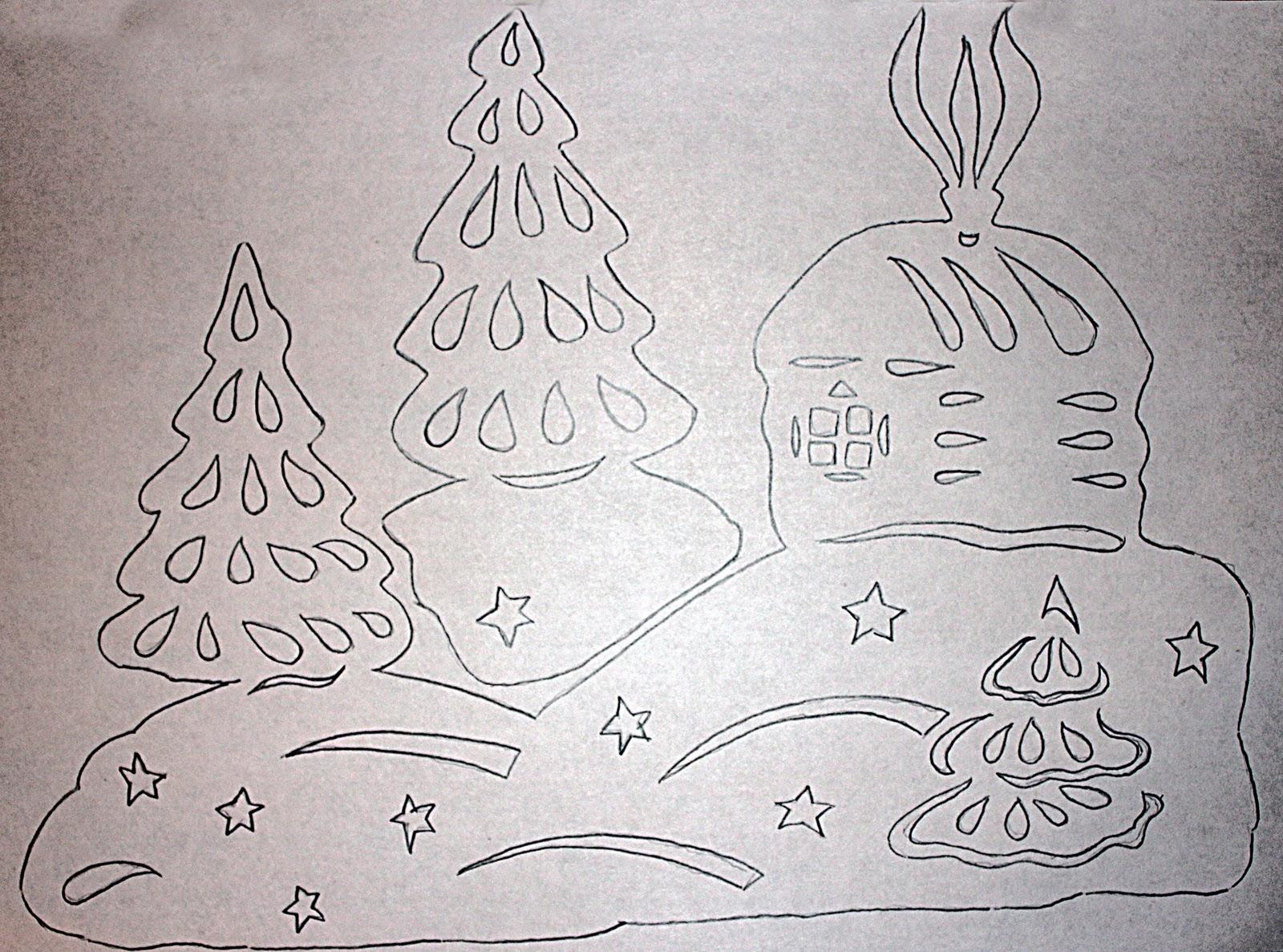 Картинки на стекло на новый год из бумаги трафареты распечатать
