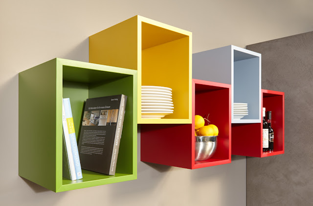 Caissons de cuisine colorés avec jonction à 45° pour de belles finitions