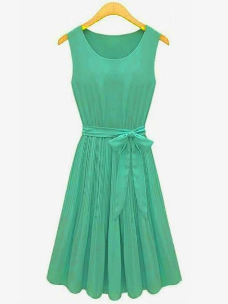 Pleated Chiffon Women Bow Belt Sleeveless Skirt Dress