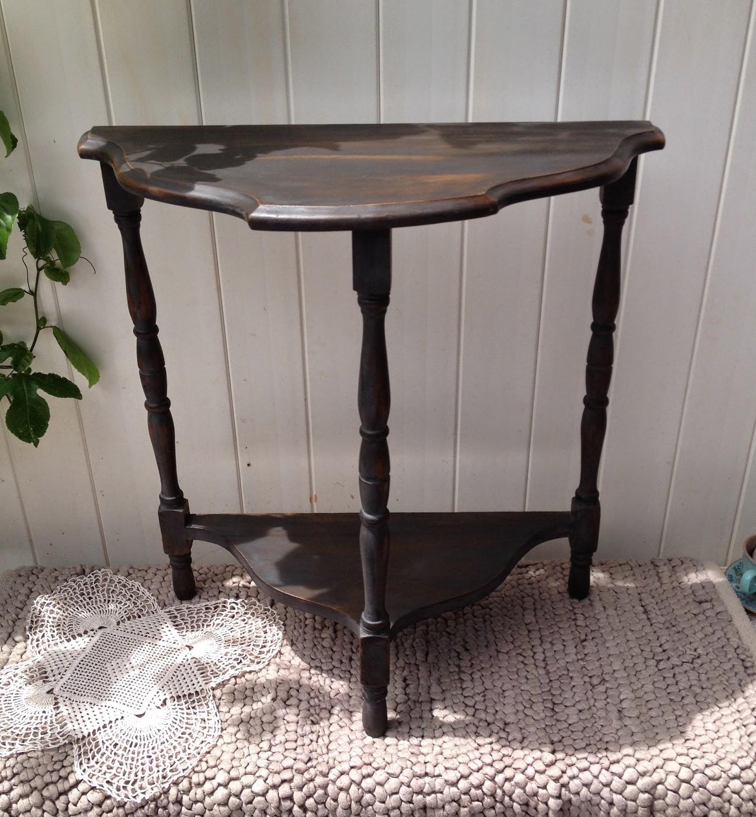 black wash antique side table vintage miss mustard seed typewriter 3 legs