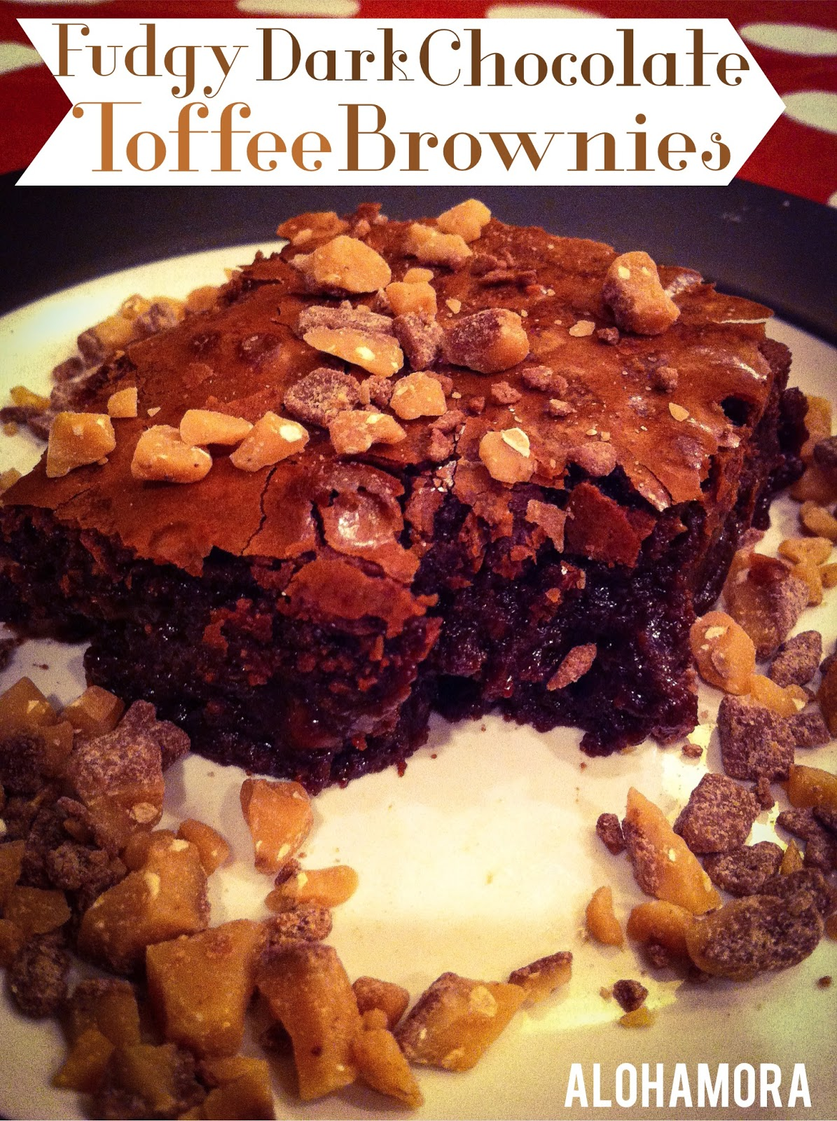 Fudgy Dark Chocolate Toffee Brownies.  If you like Heath bars and fudge gooey brownies these are delicious!  Easy from scratch brownies.  Alohamora Open a Book http://www.alohamoraopenabook.blogspot.com/