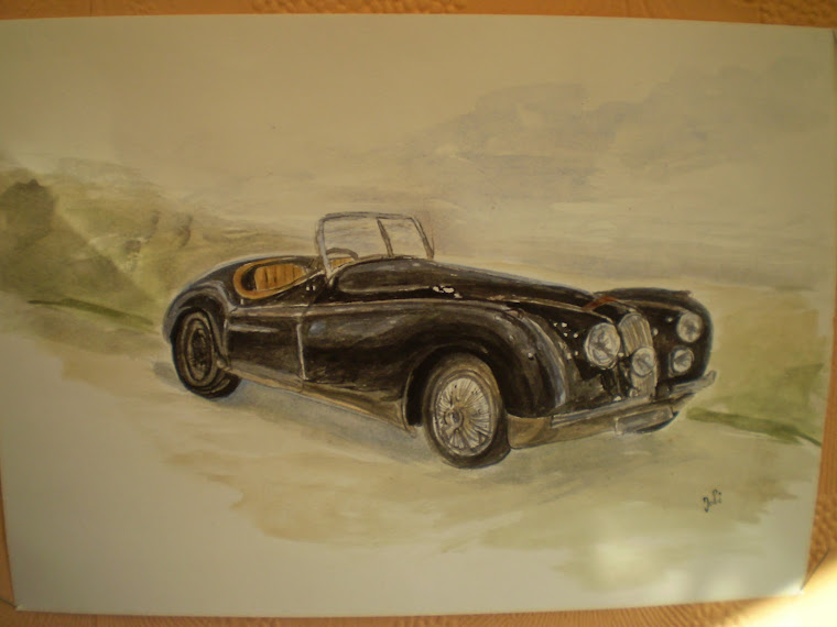 Jaguar XK120, 1950 , watercolor, signed Joli, A4