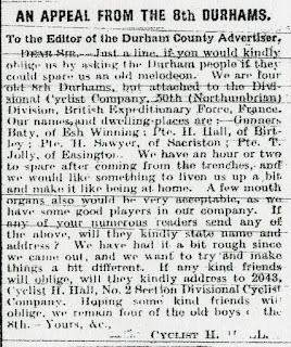 Letter requesting a melodeon, Durham Advertiser 23 July 1915