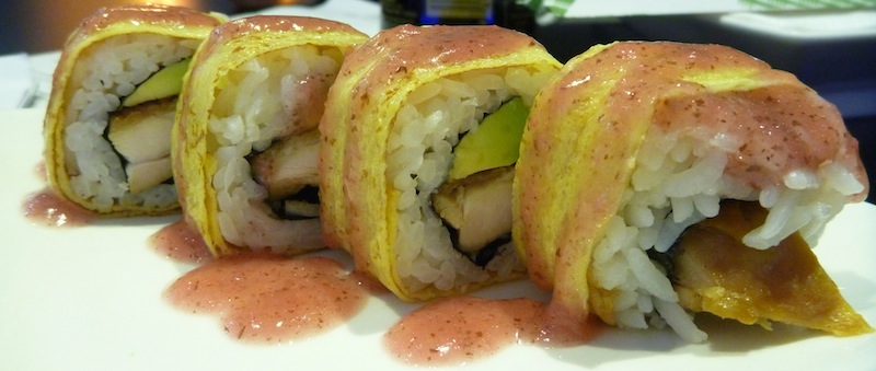 Plum Flower Roll: Chicken teriyaki and avocado wrapped in nori and ...