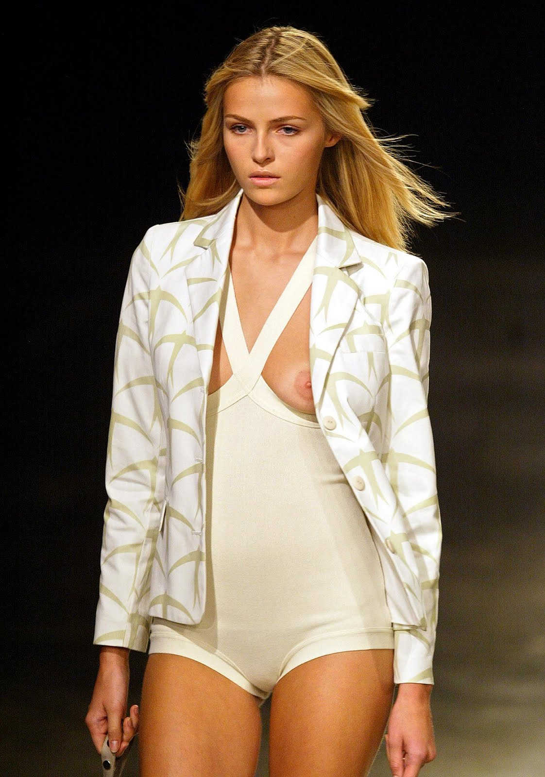 Fashion runway models nip slip
