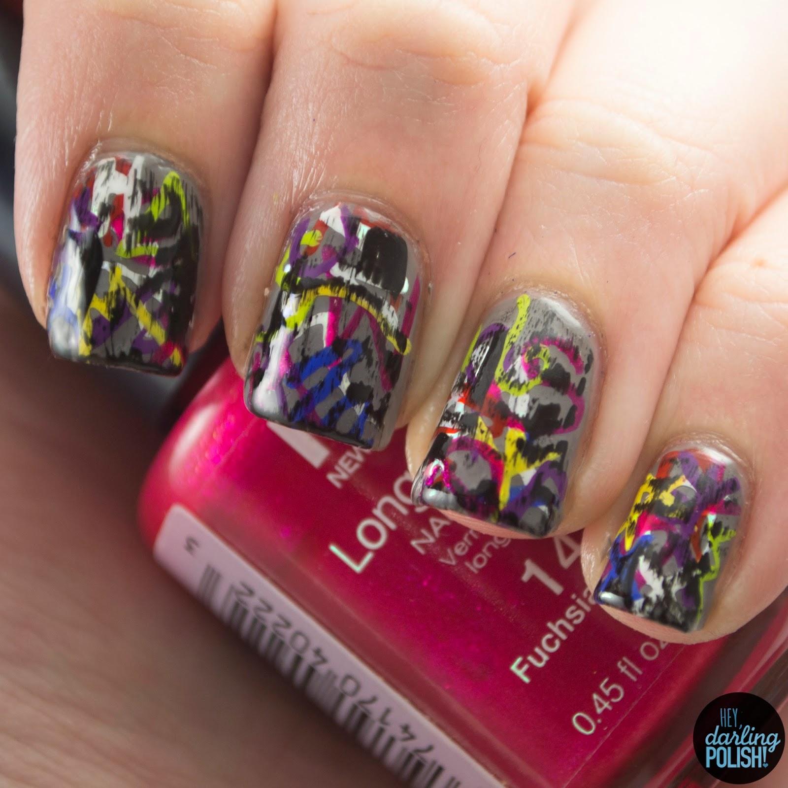 nails, nail art, nail polish, polish, graffiti, nail art a go go, hey darling polish, grunge