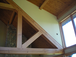 Douglas Fir timber frame truss, window trim,  http://www.huismanconcepts.com/