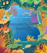 Illustrazione caverna sottomarina