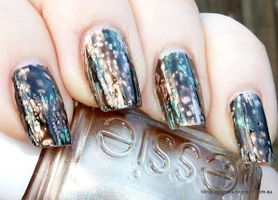 OPI Black Spotted over Essie Penny Talk and China Glaze For Audrey