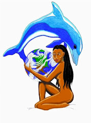 Indian Woman Earth Steward Hugging Mother Earth and Dolphin by Artist, Aaron Labow