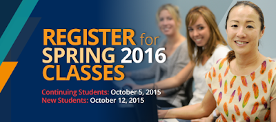Image of three students looking at camera.  Text: Register for Spring 2016 Classes.