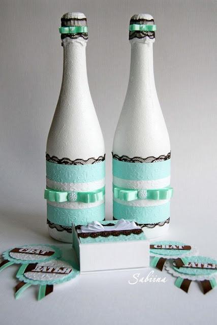Свадьба в цвете мяты и шоколада, шоколадно-мятная свадьба, ручная работа в свадебных аксессуарах, свадьба своими руками, украшения ручной работы, hand made, свадебное шампанское, шкатулка для колец