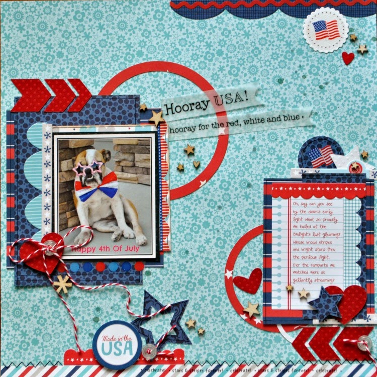 SRM Stickers Blog - Hooray USA! by Cathy H.- #layout #patriotic #4th of July #twine #stickers #borders #punched pieces