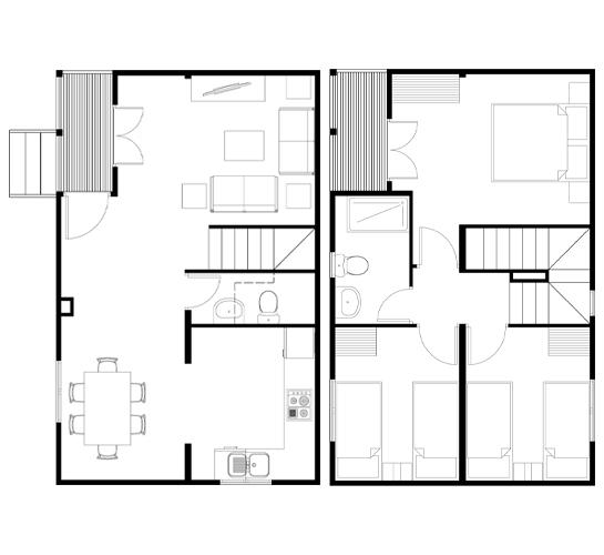Plano casa de madera prefabricada 69 m2 planos de casas - Planos casas dos plantas ...