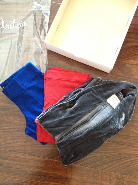 Aritzia items, talula blue pants, talula red pants, wilfred velvet blazer