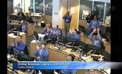 Orbital Sciences Cygnus control room after the successful cargo craft capture. Credit: NASA TV