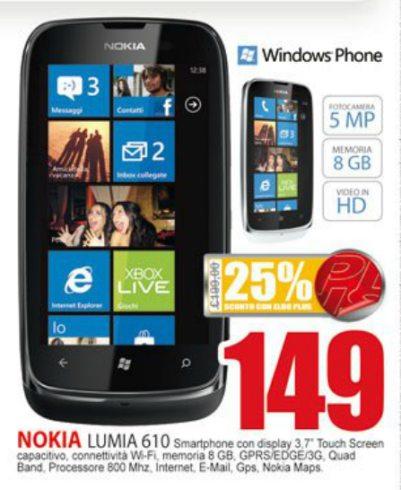 Nokia Lumia 610 a 149 euro sul volantino Eldo