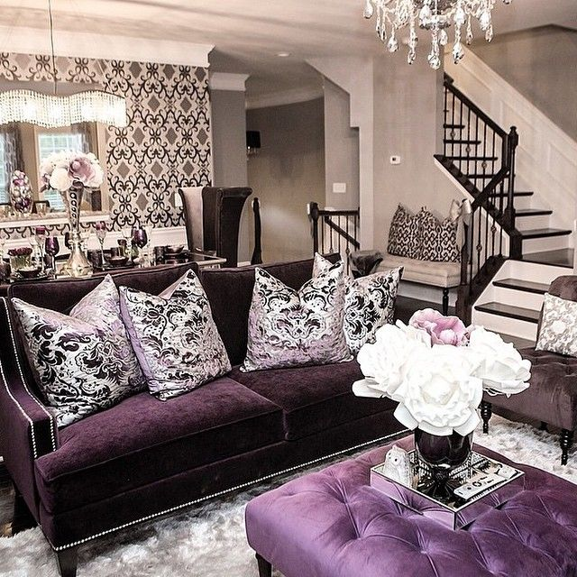 How do i decorate my small living room with modern design Purple living room decor
