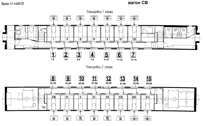 Схема вагона СВ: РЖД