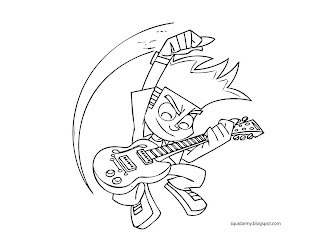 Johnny Test coloring pages playing guitar