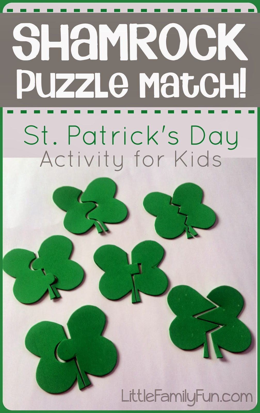 little family fun shamrock puzzle match st patrick u0027s day