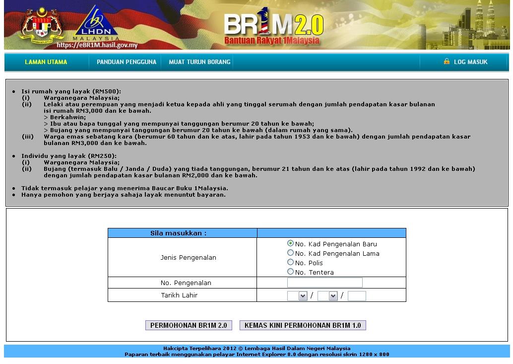 Borang Permohonan BRIM 2.0 (bujang) Secara Online Dibuka