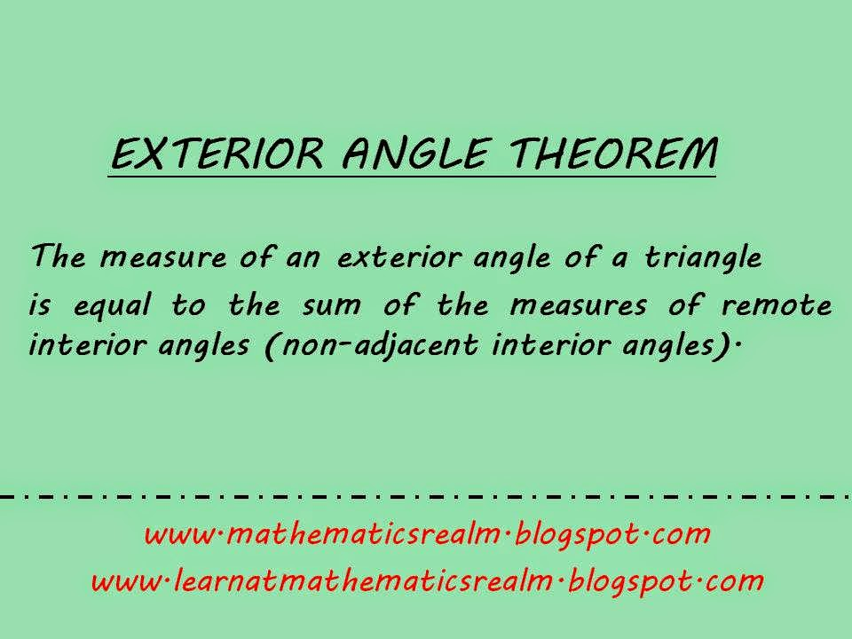 Exterior Angle Theorem Part 2 Proof