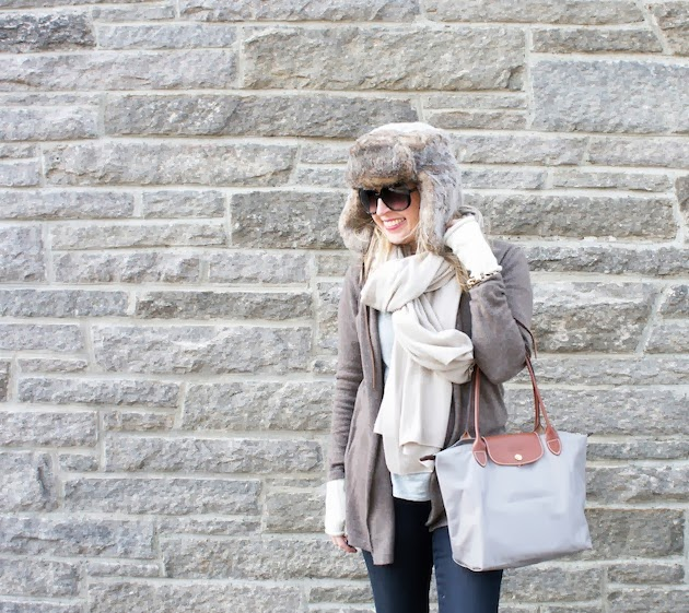 Ellie Kai cashmere, kensie jeans, theory scarf, trapper hat, how to wear a trapper hat