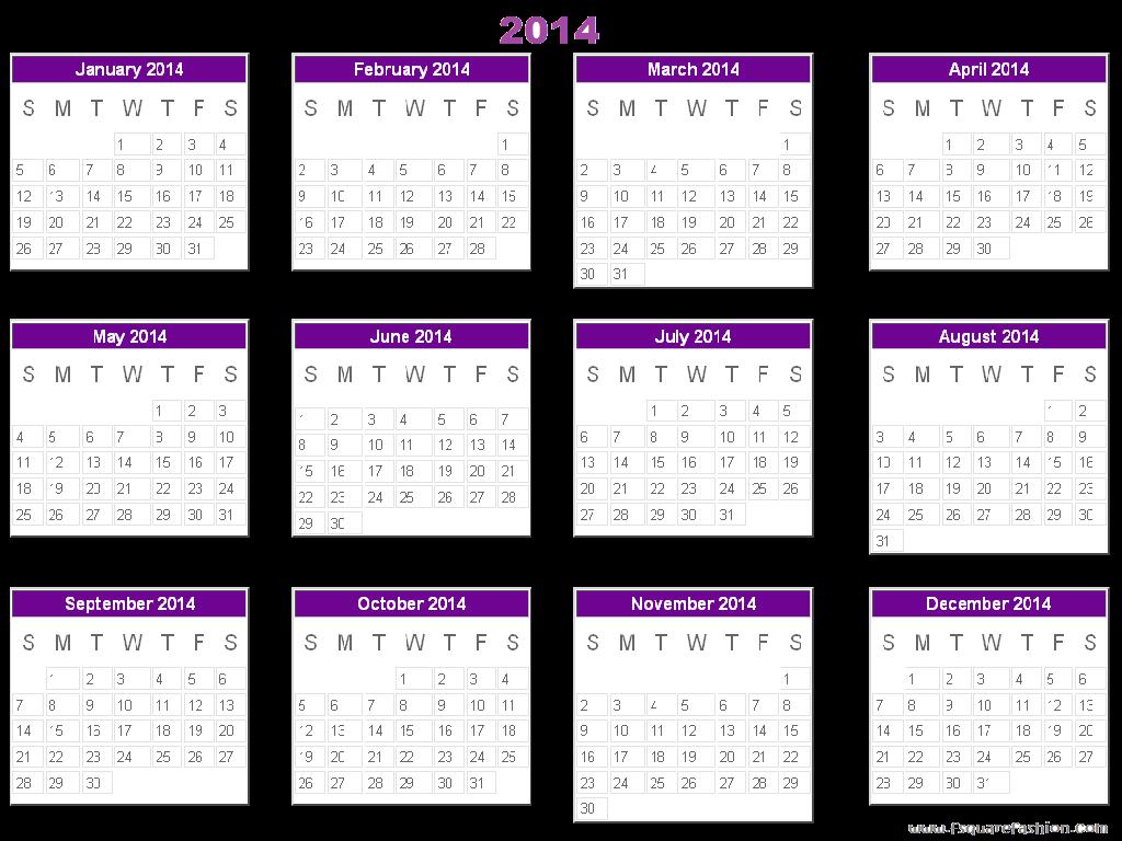 2012 Yearly Calendar