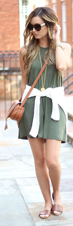 Army Green Tank Dress by For All Things Lovely